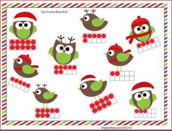 Christmas Bump It Math Center Ten Frames