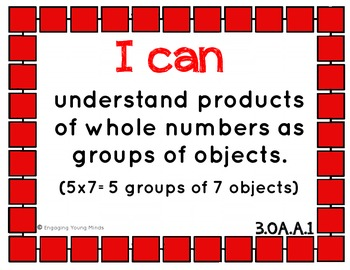 "Common Core Math Kid Friendly ""I Can"" Statements for 3rd Grade"