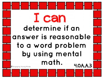 "Common Core Math Kid Friendly ""I Can"" Statements for 4th Grade"