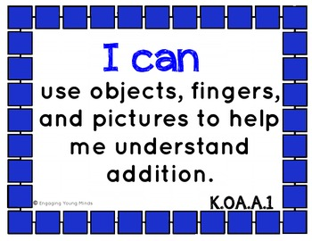 """Common Core Math Kid Friendly """"I Can"""" Statements for Kindergarten"""