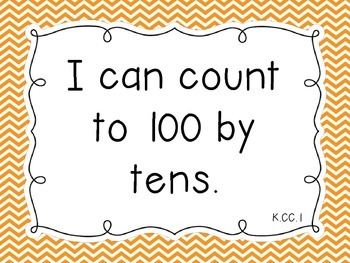 "Common Core Math Kindergarten ""I Can"" Standards Chevron Theme"