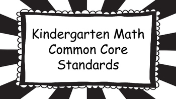 Kindergarten Math Standards Posters on Black Sunburst Frame