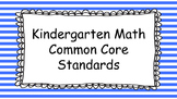 Kindergarten Math Standards Posters on Blue Striped Frame