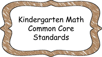 Kindergarten Math Standards Posters on Brown Crayon Colored Frame