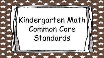 Kindergarten Math Standards Posters on Brown Star Frame
