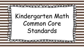 Kindergarten Math Standards Posters on Brown Striped Frame
