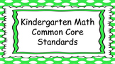 Kindergarten Math Standards Posters on Green Polka Dot Frame