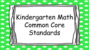 Kindergarten Math Standards Posters on Green Star Frame