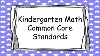 Kindergarten Math Standards Posters on Purple Star Frame