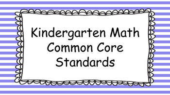Kindergarten Math Standards Posters on Purple Striped Frame