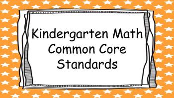 Kindergarten Math Standards Posters on Orange Star Frame