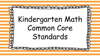 Kindergarten Math Standards Posters on Orange Striped Frame