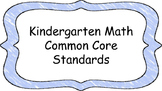 Kindergarten Math Standards Posters on Light Blue Crayon C