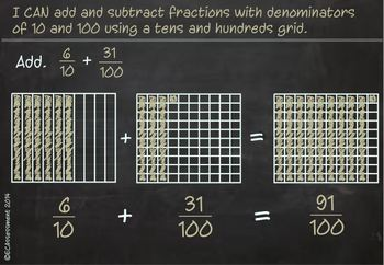 Common Core Math Lesson:4.NBT.5: Adding Fractions with Denomators 10 and 100
