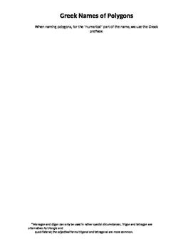 Common Core Math: List of Greek Polygon Names