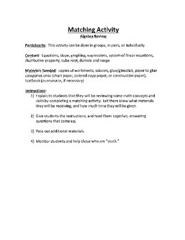 Common Core Math - Matching Activity - Algebra review/game