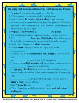 Common Core Math: Math Vocabulary Tournament Game-Multiplication