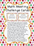 Common Core Math Meeting Challenge Cards