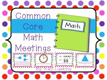 Common Core Math Meetings Unit 1