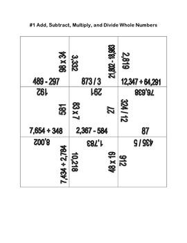 Common Core Math Number Sense & Computation Puzzles