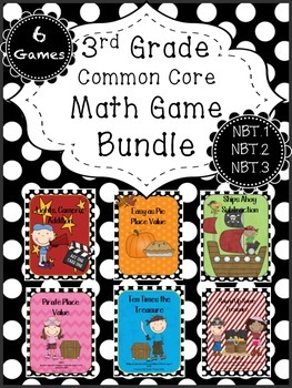 Math Game BUNDLE Place Value, Addition, Subtraction, Rounding