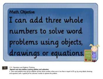 Common Core Math Objectives Posters: First Grade