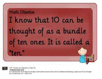 Common Core Math Objectives Posters: Numbers....Base Ten: 1st Grade