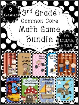 Math Game BUNDLE - Multiplication, Division, Fact Families, Problem Solving