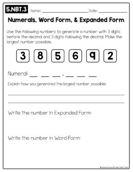 Open-Ended Math Pages - 5th Grade