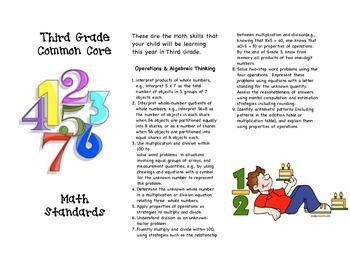 Common Core Third Grade Math Parent Brochure