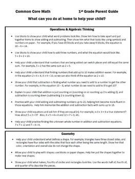 Common Core Math Parent Guide - 1st Grade