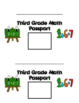 Common Core Math Passport (Review or Pretest for 3rd grade)