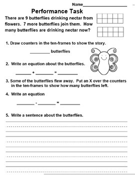 Common Core Math Performance Task 1st Grade