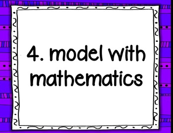 Common Core Math Performance Standards Wall Posters with Descriptions