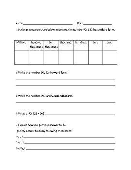 Common Core Math Place Value Quiz 4th Grade FREE