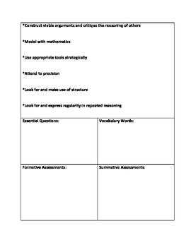 Common Core Math Planning Template