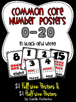 Common Core Number Posters: Full Size & Half Size {Black & White Theme}