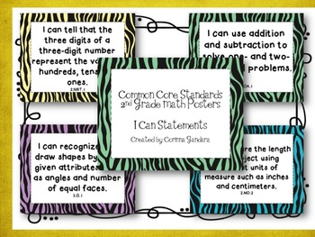 Second Grade Common Core Math Standards Posters-Zebra Print