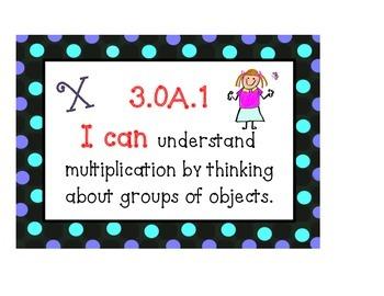 """Common Core Math """"I Can"""" Posters (Aqua Pok-a-Dot)"""