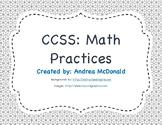 Common Core Math Practice Posters Grey