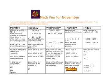 Common Core Math Practice for November