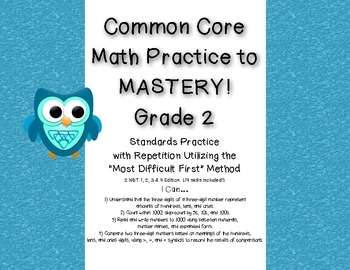 Common Core Math Practice to Mastery! 2nd Grade 2.NBT.1, 2, 3 & 4 Unit
