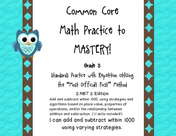 Common Core Math Practice to Mastery! 3rd Grade 3.NBT.2 Unit