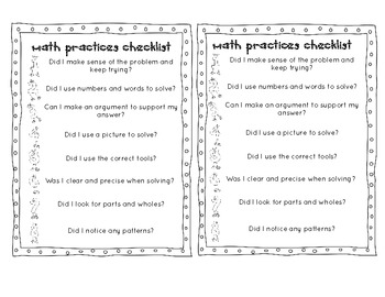 Common Core Math Practices Checklist in Kid Friendly Terms
