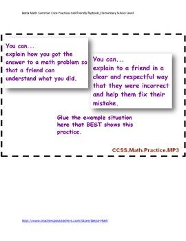 Common Core Math Practices Flipbook for Elementary School
