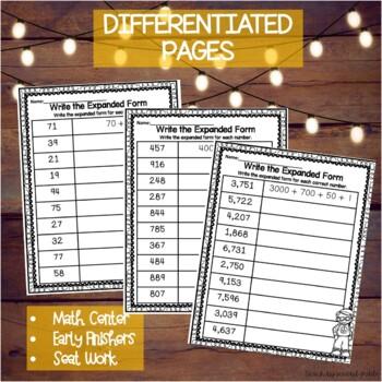 Math Worksheets Bundle | Fact Families | Place Value | Expanded Form