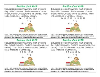 Common Core Math Problem Cards Statistics