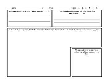 Common Core Math - 6 pt. Problem Solving Graphic Organizer