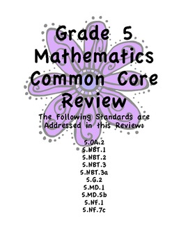 Common Core Math Review/Assessment for Fifth Grade