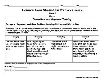 Common Core Math Rubrics:  Grade 1